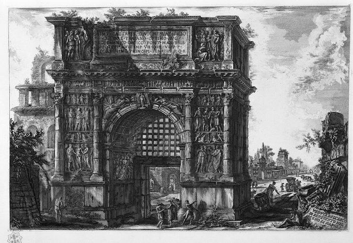 1748-1774 ローマの景観:Arco de Trajano 建築家 ジョヴァンニ・バッティスタ・ピラネージ