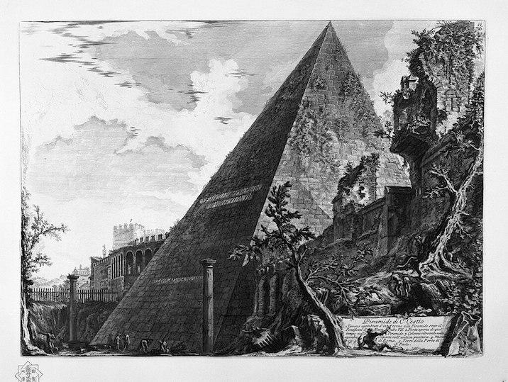1748-1774 ローマの景観:Pirámide de Cestio 建築家 ジョヴァンニ・バッティスタ・ピラネージ