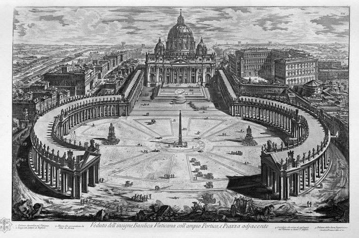 1748-1774 ローマの景観:Plaza de San Pedro 建築家 ジョヴァンニ・バッティスタ・ピラネージ